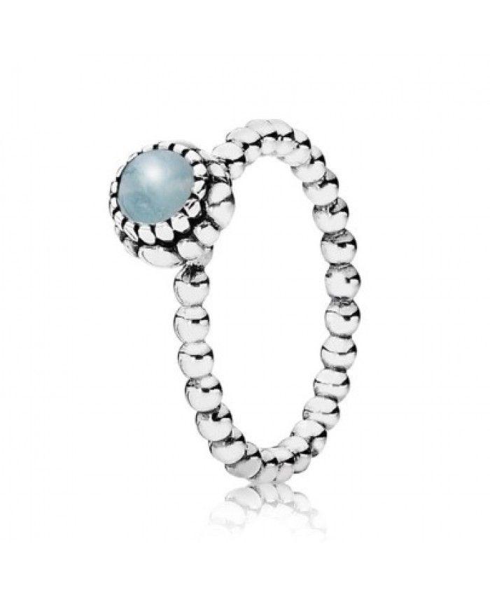 0c0072893 Pandora Silver Beaded Aquamarine March Birthstone Ring Cheap Sale ...