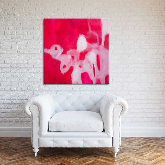 Modern Abstract Print Large Abstract Art Grey with pink white blue ...