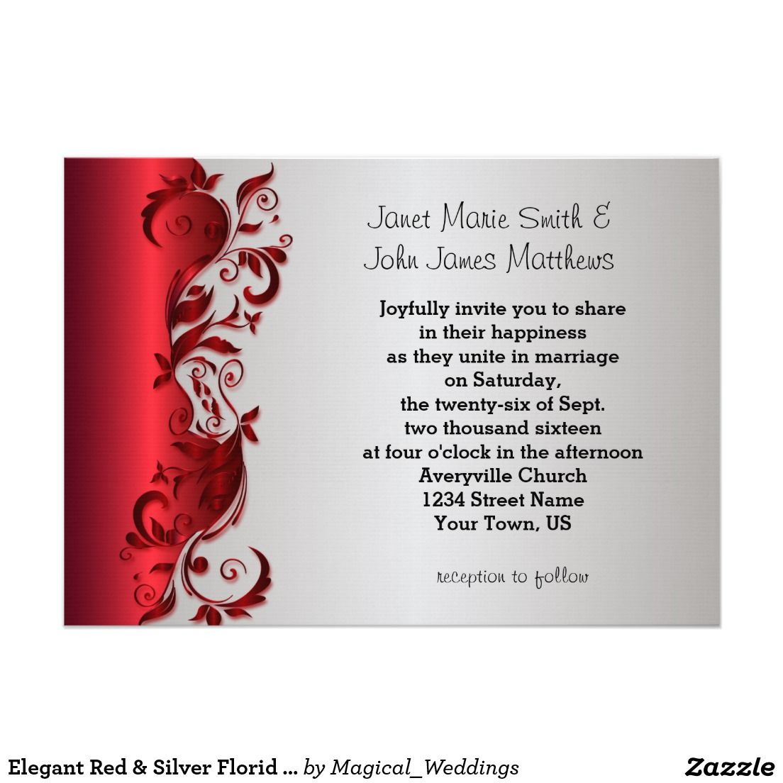 Elegant Red & Silver Florid Wedding Design Invitation | Pinterest ...