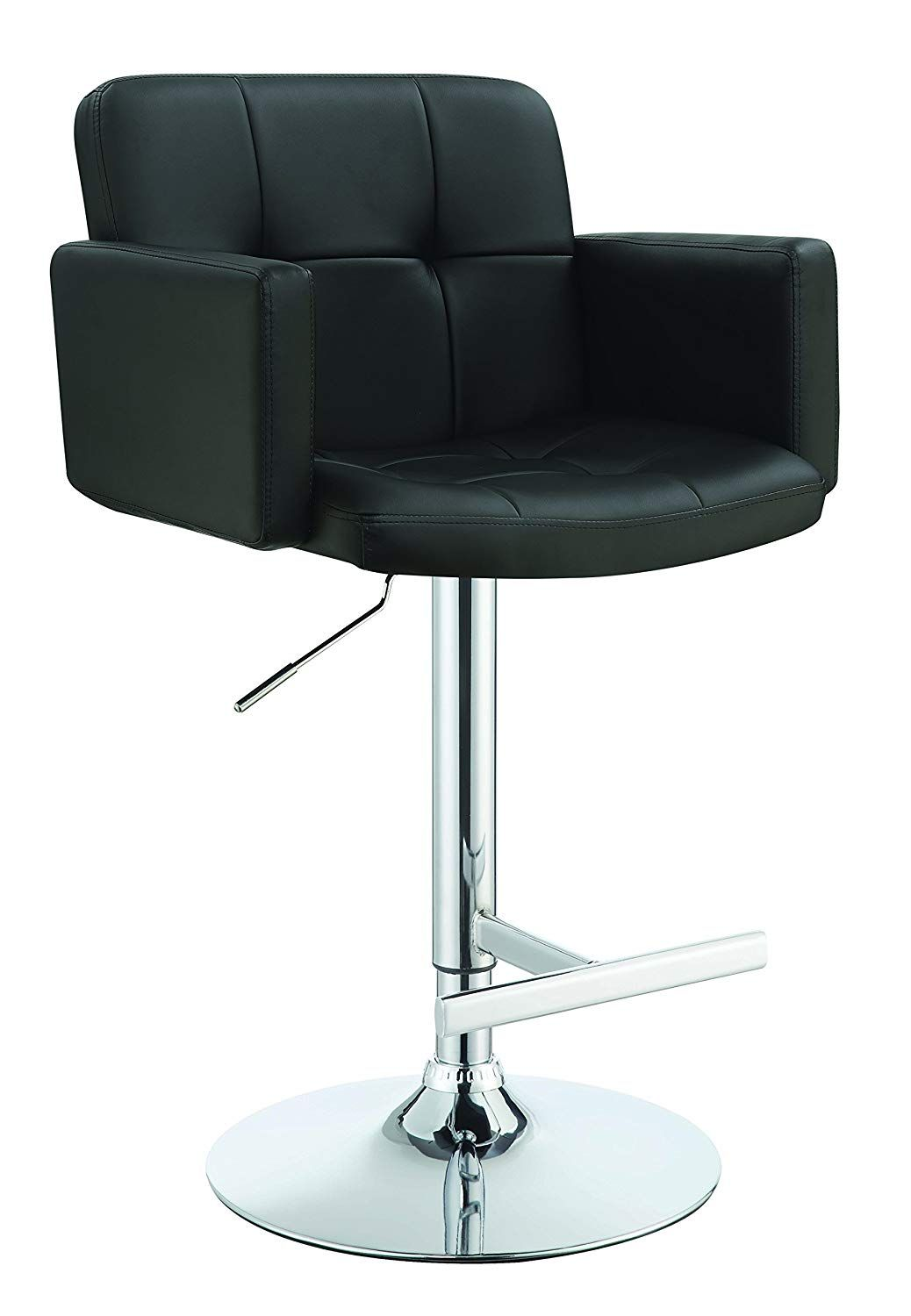 Terrific Coaster Adjustable Bar Stool With Arms In Black Faux Leather Onthecornerstone Fun Painted Chair Ideas Images Onthecornerstoneorg