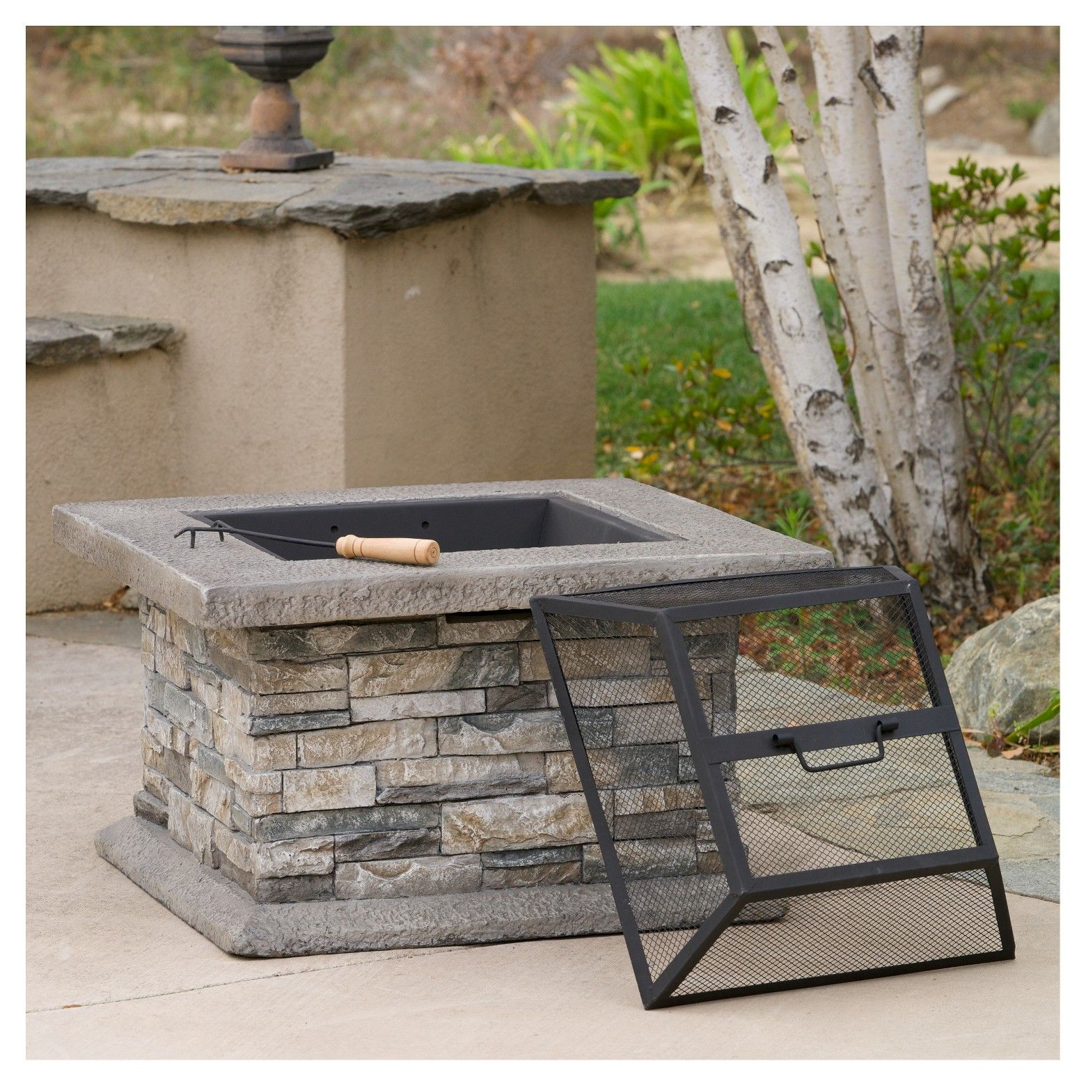 Crestline 29 Concrete Wood Burning Fire Pit Square Natural Stone Christopher Knight Home Wood Burning Fire Pit Outdoor Fire Pit Outdoor Fire Pit Designs