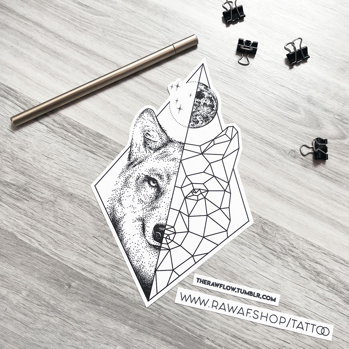 Dotwork Geometric Wolf Moon Tattoo Design Download Www Rawaf Shop Wolf And Moon Tattoo Moon Tattoo Geometric Wolf Tattoo