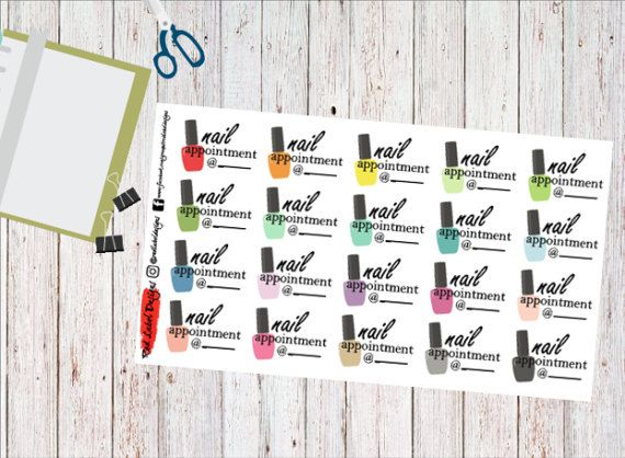 This listing includes 20 Nail Appointment planner stickers