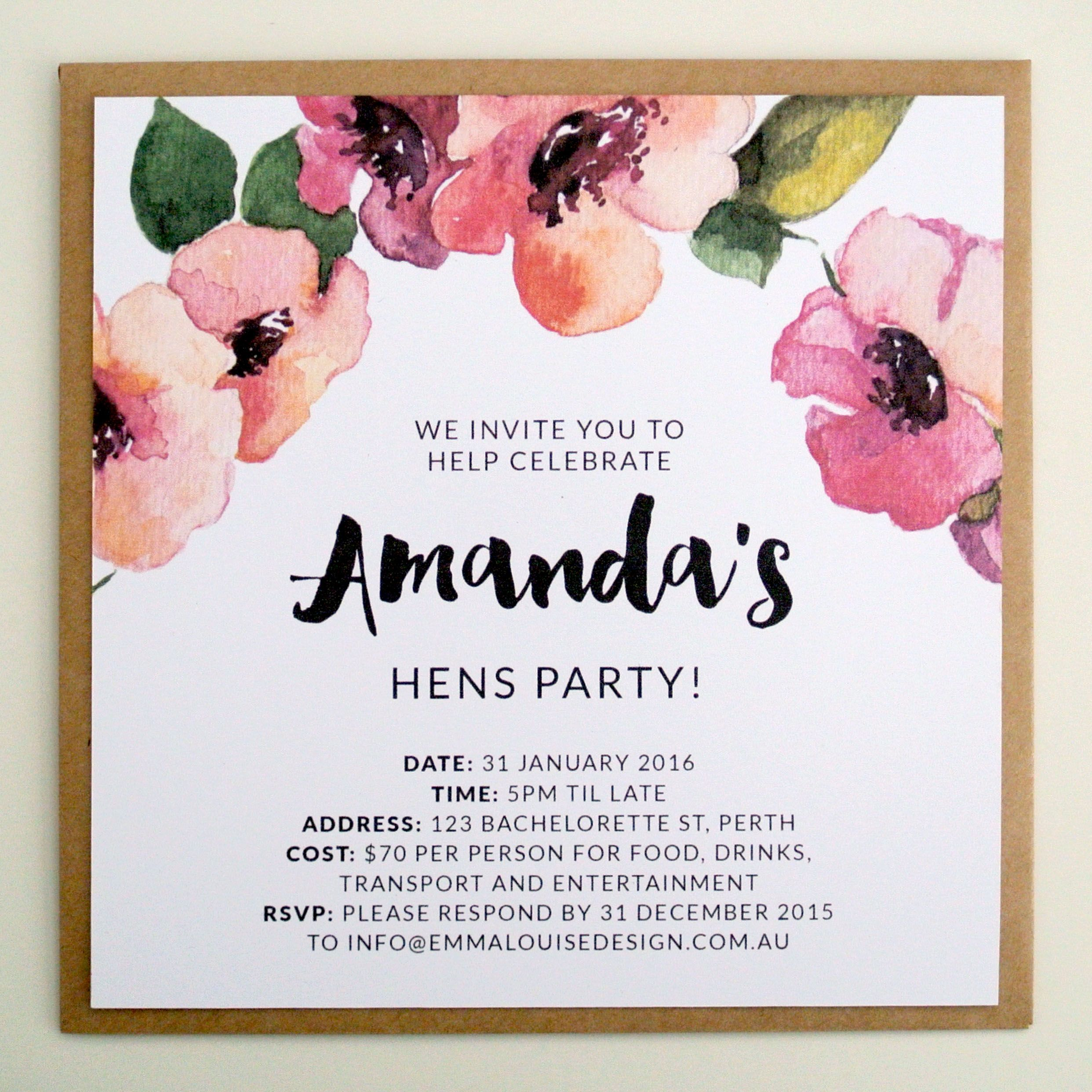 Pink Floral Wreath Hens Invite by