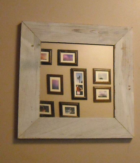 Reclaimed Rustic Barn Wood Framed Mirror - Original white paint from the old barn
