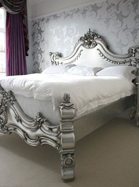 Royal Fortune Montespan Bed - Antiqued Silver Leaf ...