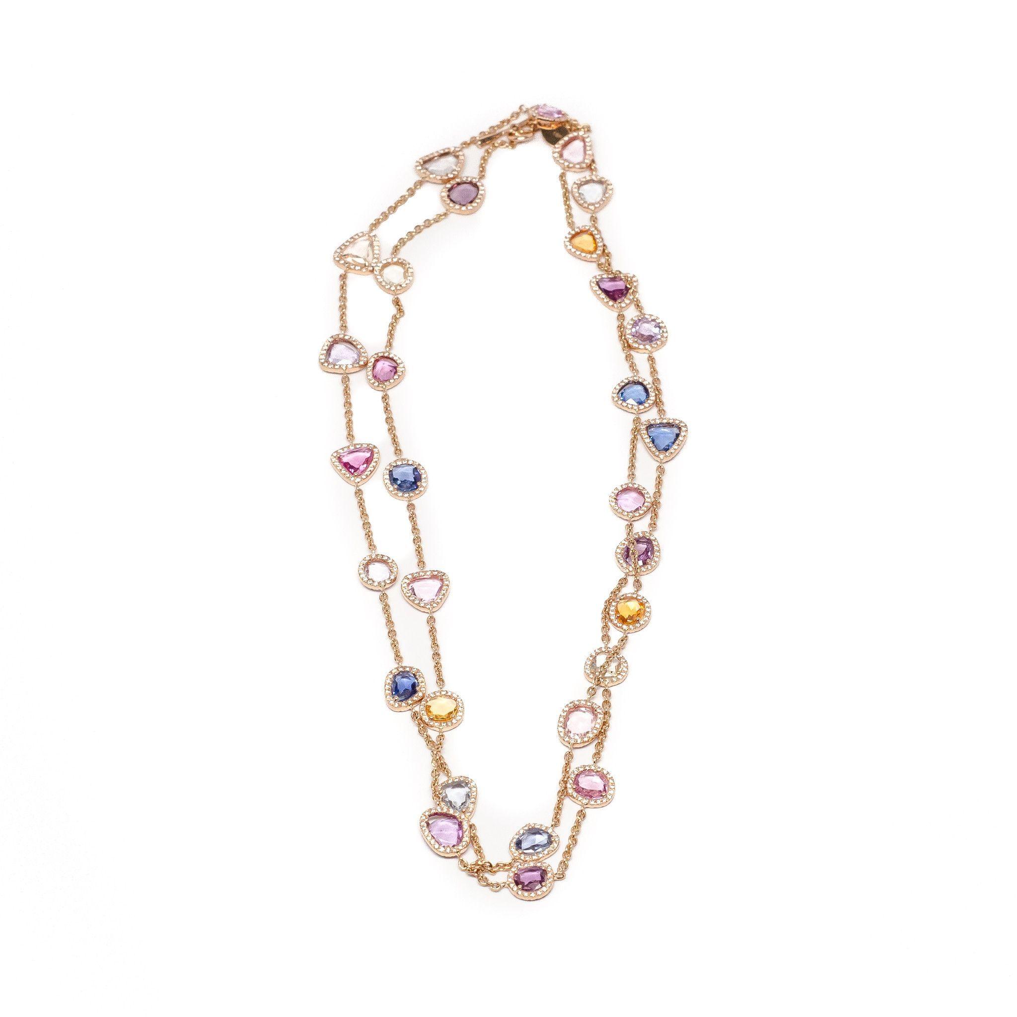 Diamond and Multi Sapphire Necklace