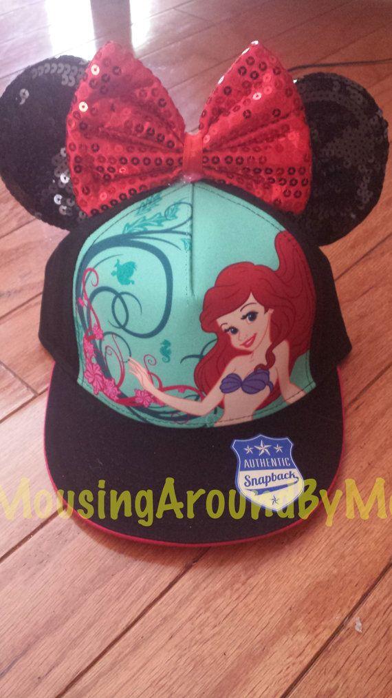 5e42fc684a1 Snapback Ariel Ear Hat Adult by MousingAroundByMel on Etsy