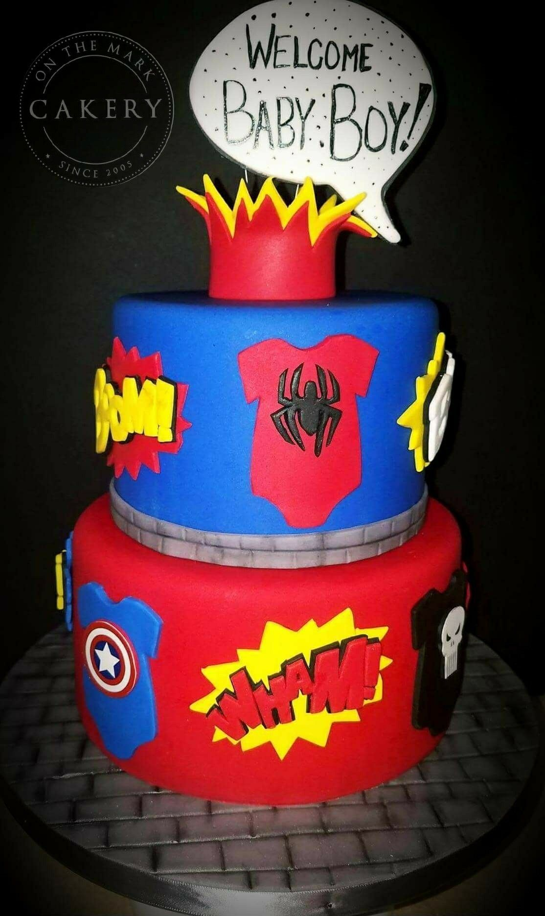 Super Hero Baby Shower Cake. Chocolate Cake Filled With Vanilla  Buttercream. #cakery #