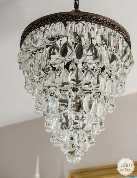 Beautiful light fixture | Clarissa Glass Drop from Pottery Barn $299 | http://www.potterybarn.com/products/clarissa-small-round-glass-drop-chandelier/