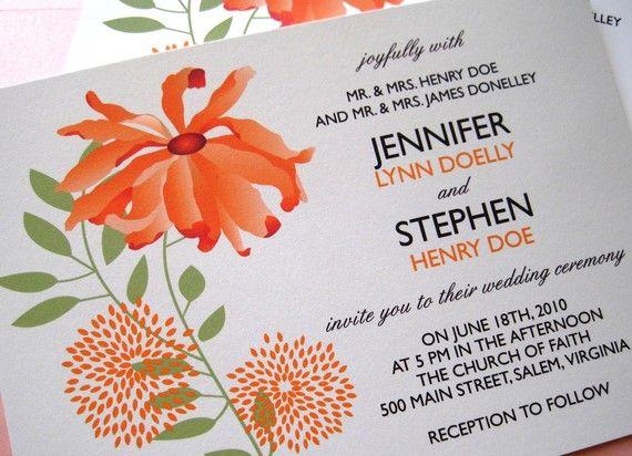 Orange and Green Blossom Wedding Invitation by TaylorsPaperie, $3.00 Combinacion de colores en grafico y fuentes