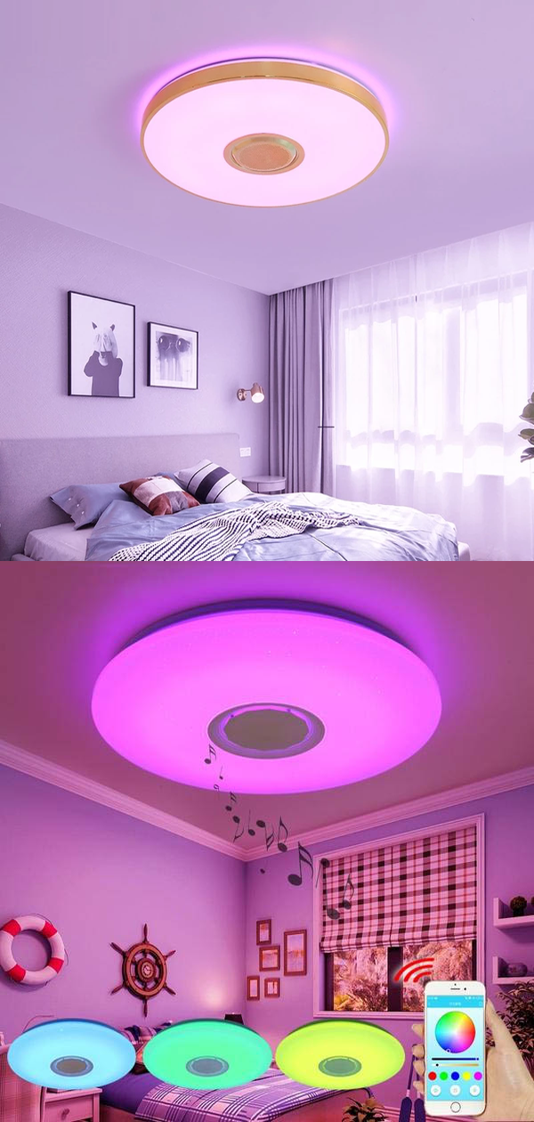 Music Led Ceiling Lights Rgb App And Remote Control Ceiling Lamp Bedroom 25w 36w 52w Living Room Light Lampara De Techo In 2020 Ceiling Lights Ceiling Lamps Bedroom Led Ceiling Lights