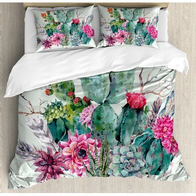 Ambesonne Cactus Spring Garden with Boho Style Bouquet of Thorny Plants Blooms Arrows Feathers Duvet Cover Set | Wayfair