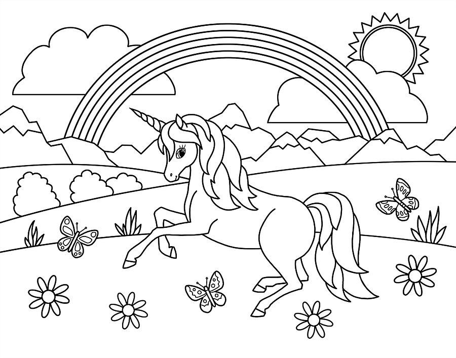 Kids Rainbow Unicorn Coloring Page By Crista Forest In 2021 Unicorn Coloring Pages Coloring Pages For Kids Coloring Pages