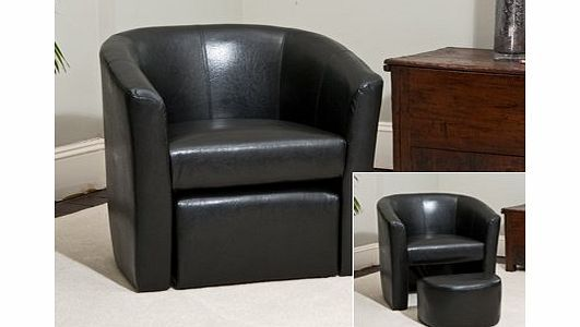 Sofa Collection Brand New Black Faux Leather Tub Chair With Matching  Footstool   Armchair Seating Brand