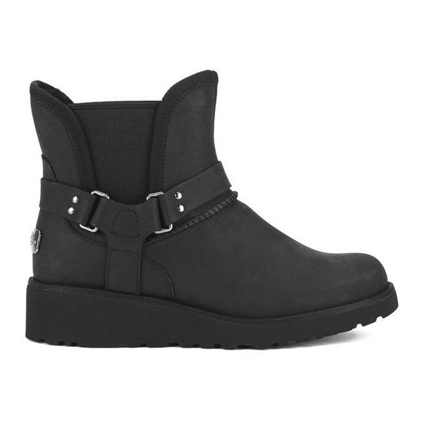 UGG Australia Women's Glen Flat Boots - Black (€215) ❤ liked on Polyvore featuring shoes, boots, ankle booties, ankle boots, black, black leather booties, black leather ankle booties, short black boots, flat ankle boots and black leather bootie