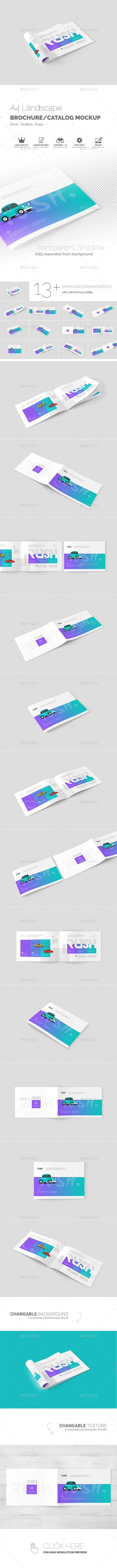 A Landscape Brochure  Catalog Mockups  Photoshop Psd A