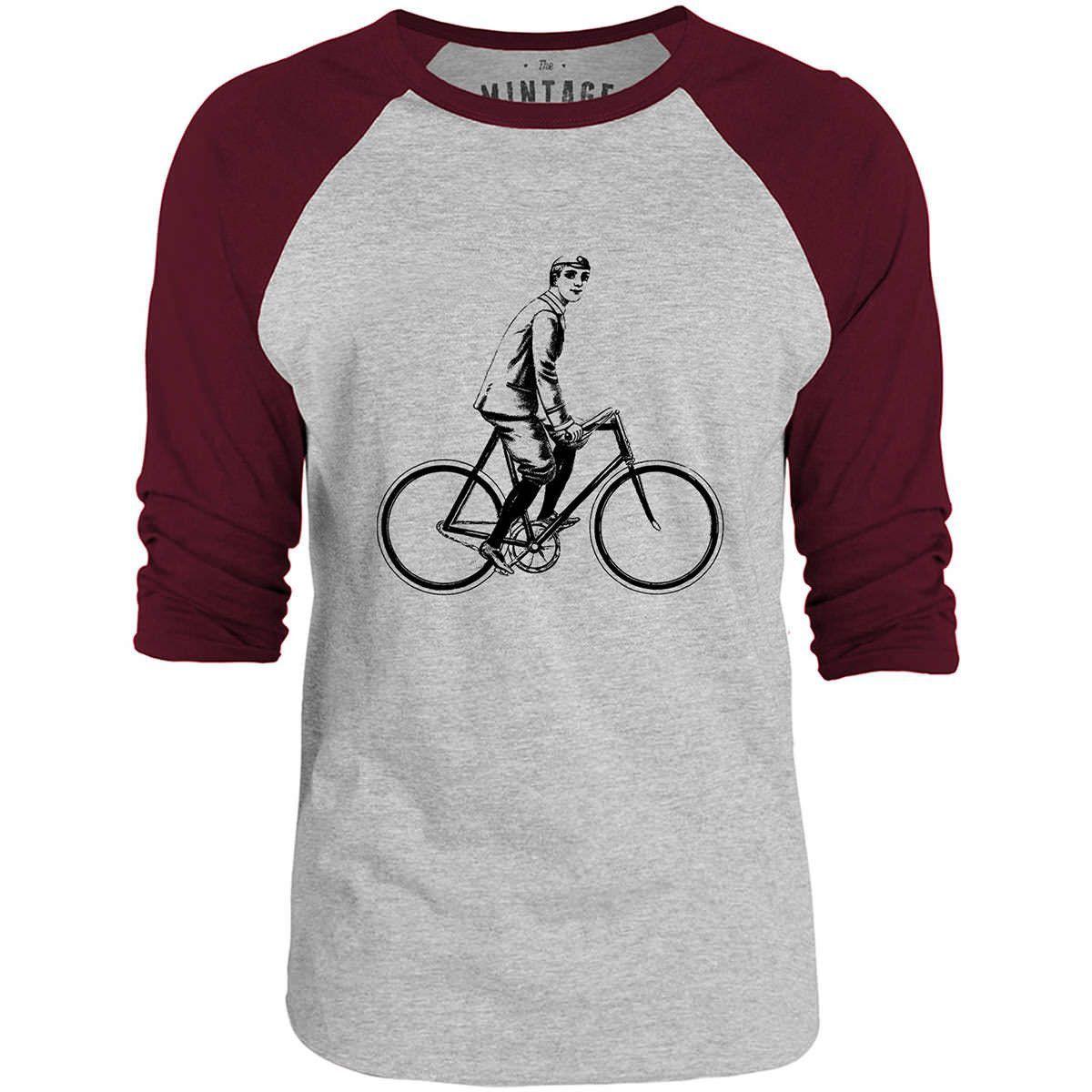 Mintage Vintage Bicycle Boy 3/4-Sleeve Raglan Baseball T-Shirt (Grey Marle / Bordeaux)
