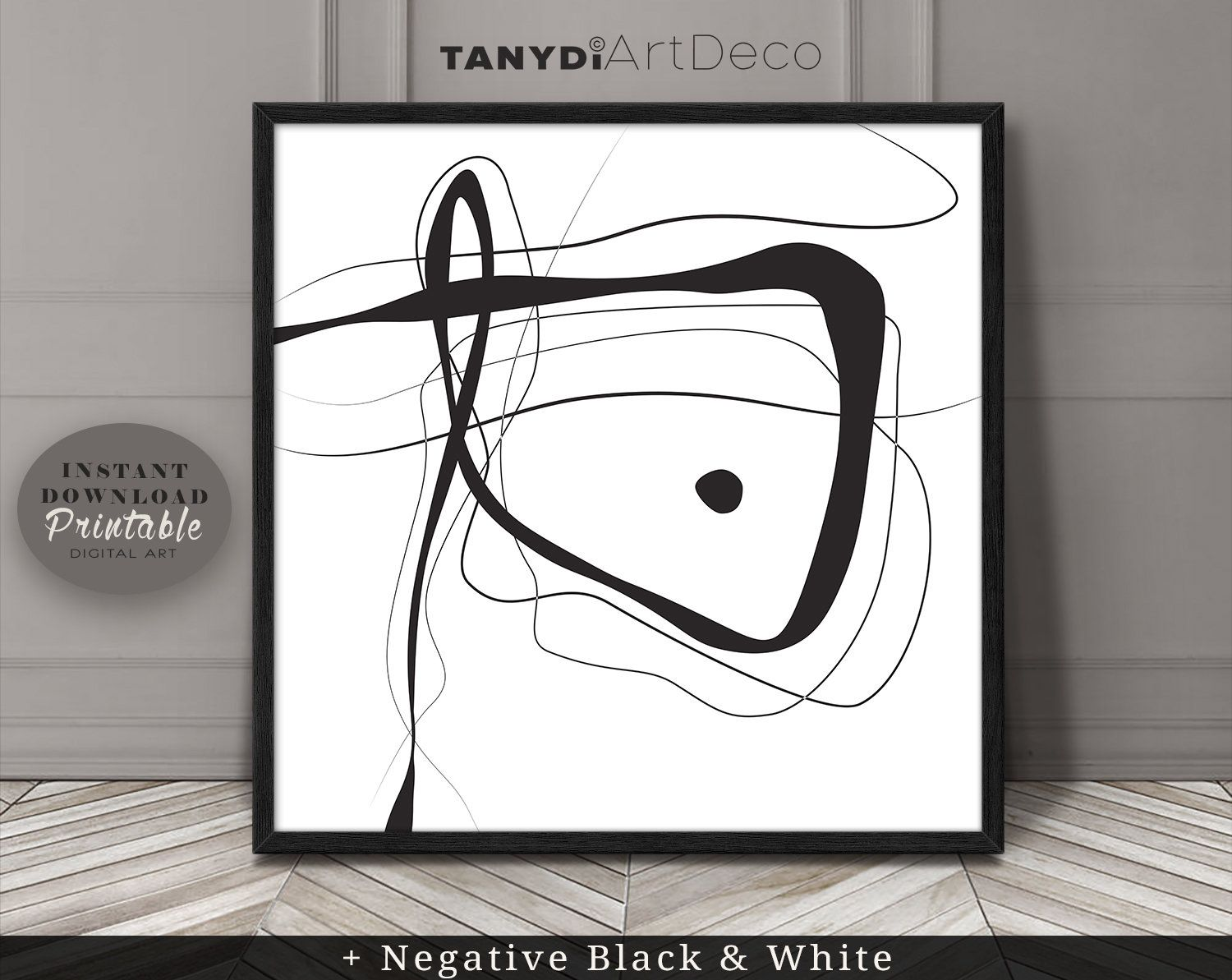 Abstract Line Art Simple Line Drawing In Black White 1
