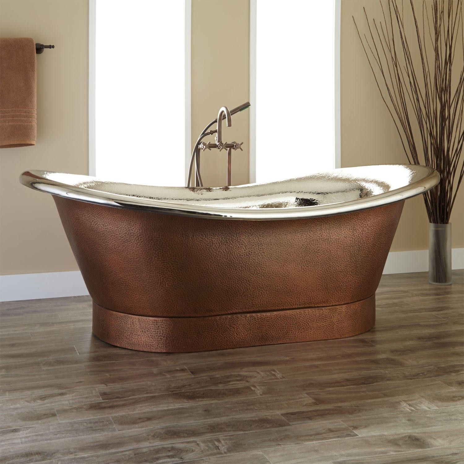 78 Extra Wide Marcy Hammered Copper Double Slipper Tub
