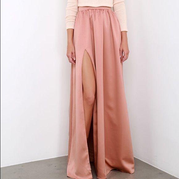 62da8695e0 Lulus twas a dream satin maxi skirt dusty rose Never worn. Glamorous high  slit maxi Lulu's Skirts Maxi