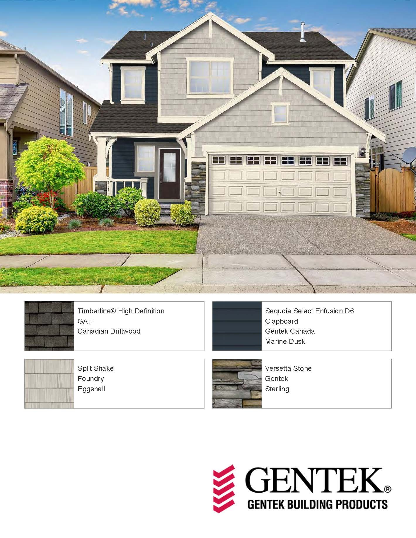 Gentek S Newest Colour Marine Dusk Along With Our Stone And Stone A Shake Products House Exterior Clapboard Exterior Siding