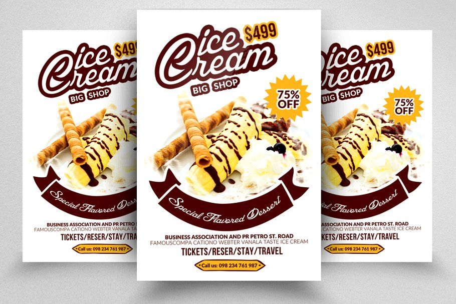 Business Gift Voucher Template In 2020 Flyer Flyer Template Ice Cream Gift