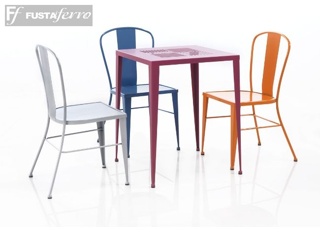 Silla de hierro en colores modelo Antic - Barna www.fustaiferro.com