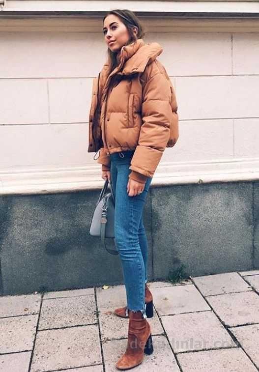 ca34bd7629eae Kış Kombinleri Mavi Kot Pantolon KIsa Kahverengi Şişme Mont Kenza Zouiten,  Günlük Giyim Modası,
