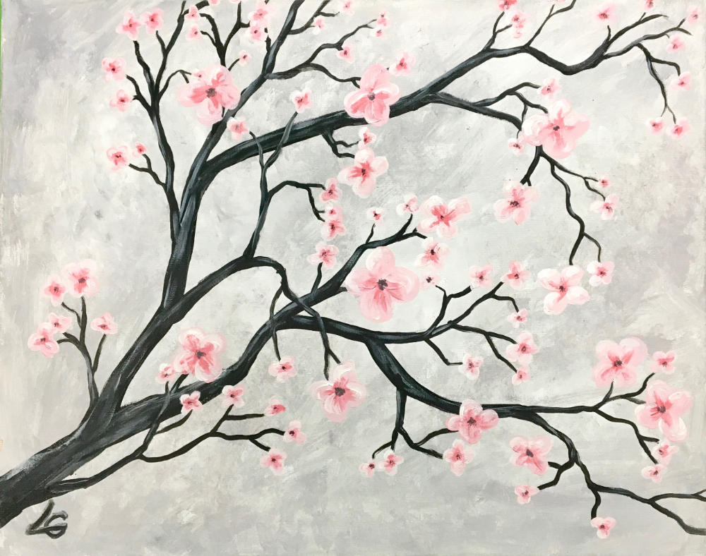 Paint Cherry Blossom At Mumuccino Cafe Cherry Blossom Painting Tiger Art Drawing Cherry Blossom Tattoo