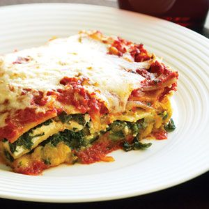 Lasagna with butternut squash and kale