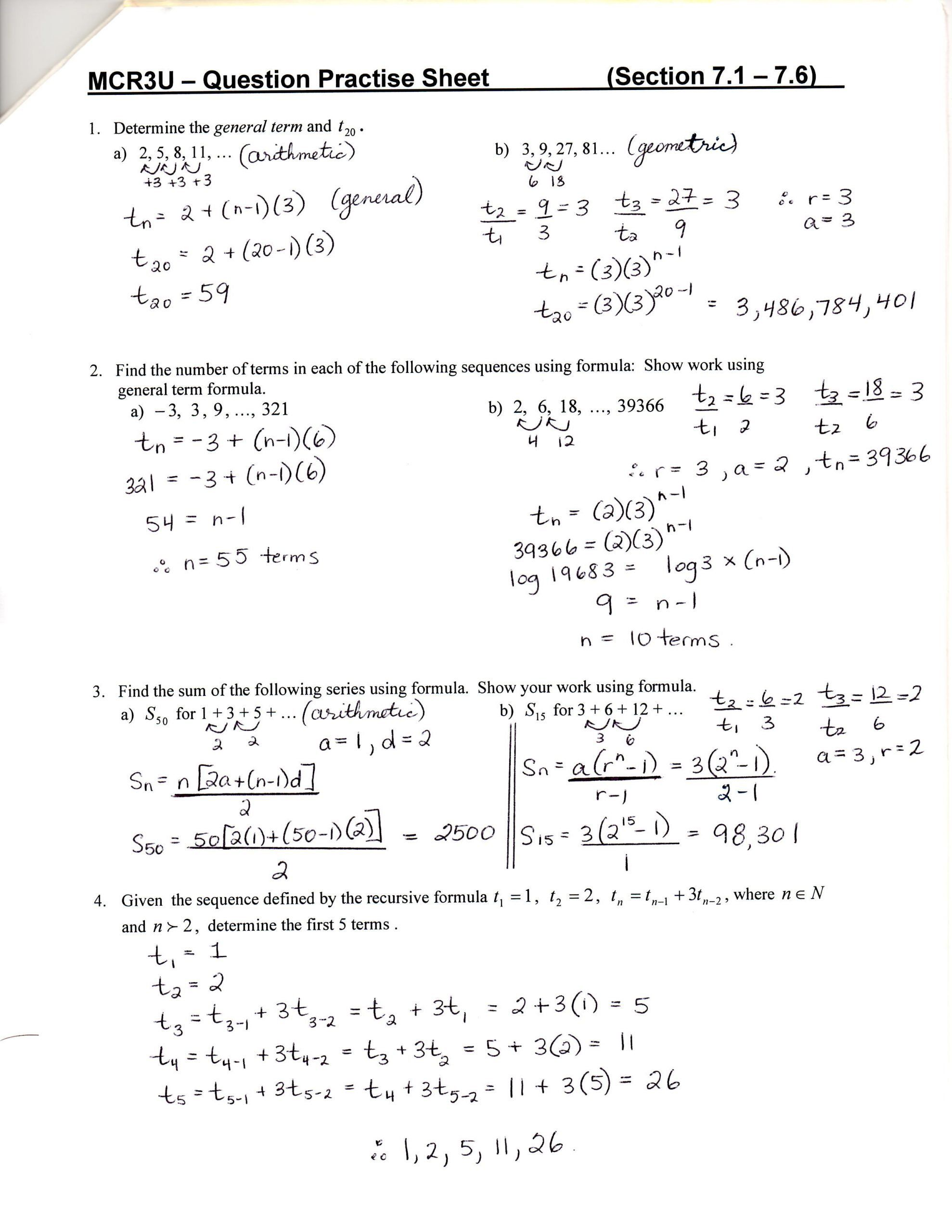 Sequences And Series Worksheet Answers Unit 7 8 Sequences Series And Financial Applicatio In 2020 Text Features Worksheet Sequence And Series Word Problem Worksheets