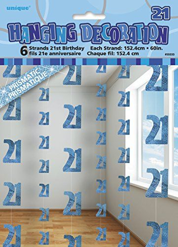 Unique Party 55333 - 5ft Hanging Glitz Blue 21st Birthday Decorations, Pack Of 6 #21stbirthdaydecorations
