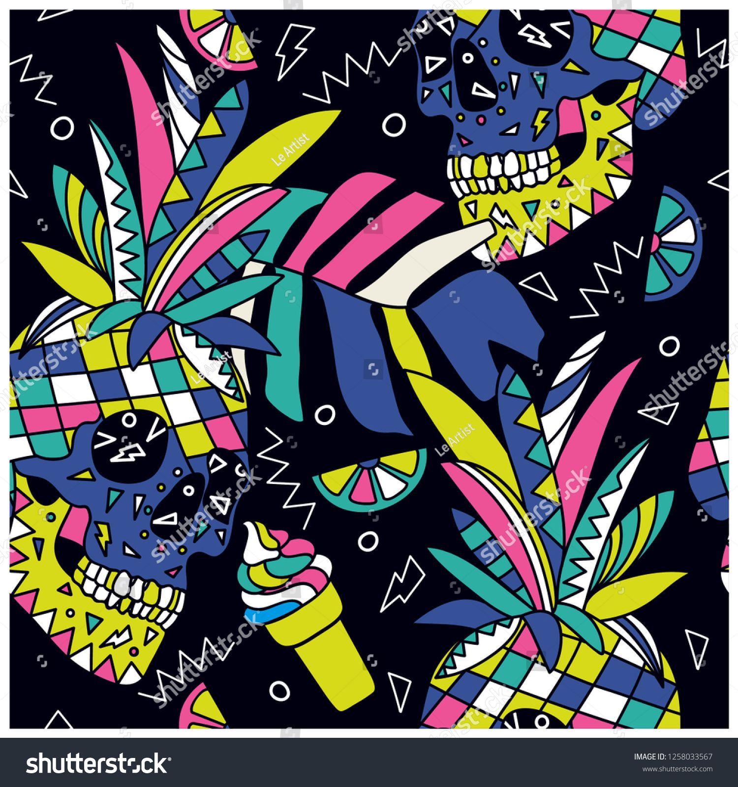 Summer symbols seamless pattern.Skull,pineapple,ice cream ...