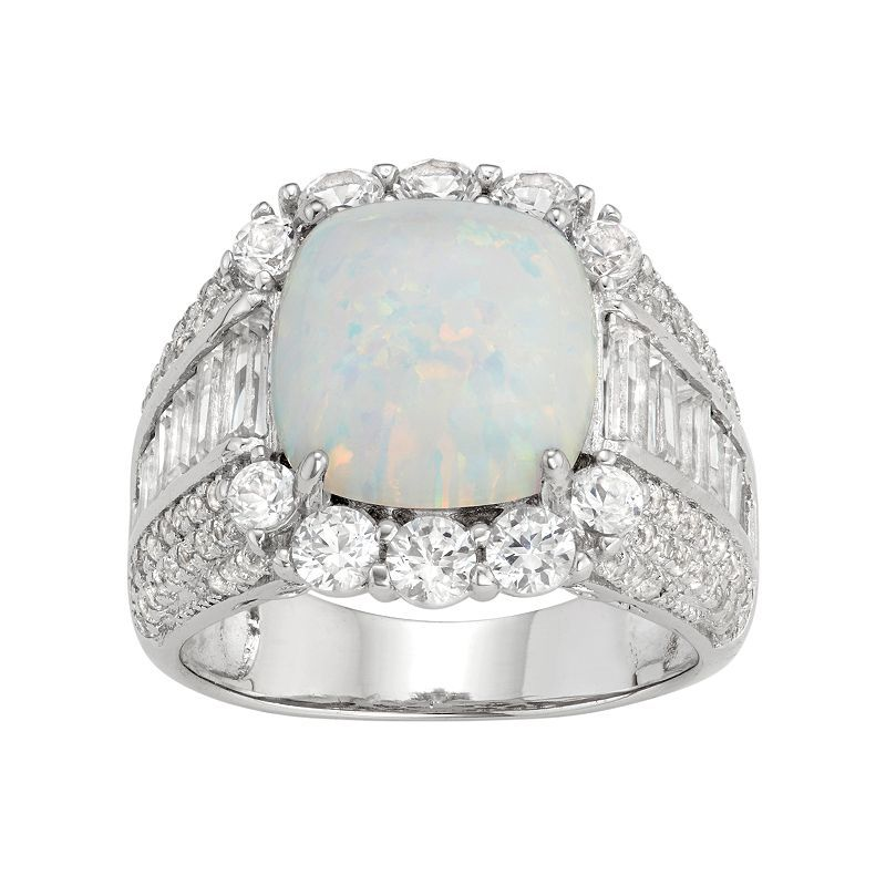 Sterling Silver Lab-Created Opal & White Sapphire Cushion Ring, Women's, Size: 9