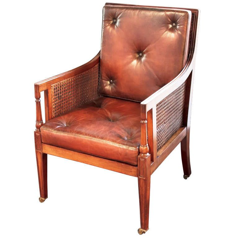 1stdibs | English Caned Chair of Mahogany in the Regency Style If only I could upholster in Leather...