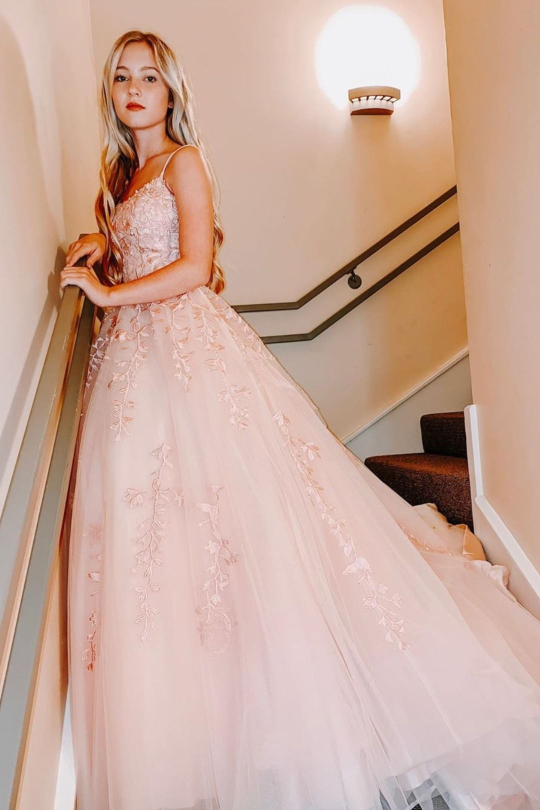 Princess Beaded Long Prom Dresses With Lace Appliques Champagne Prom Dress Lace Prom Gown Cheap Prom Dresses Online [ 1620 x 1080 Pixel ]