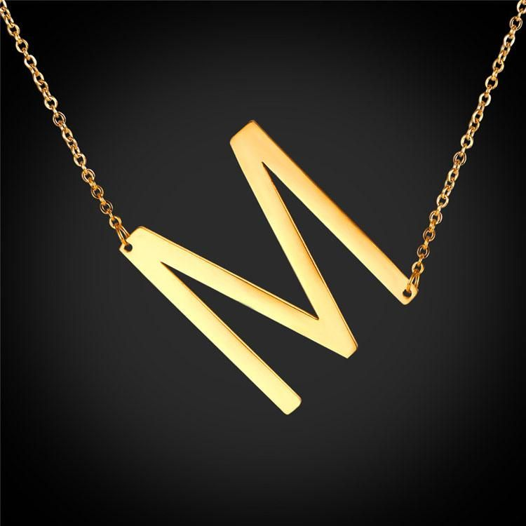 Large Sideways Initial M Choker Name Necklace Personalized Slant Letter Alphabet Jewelry For Women Jewelry M Necklace Delicate Jewelry Necklace