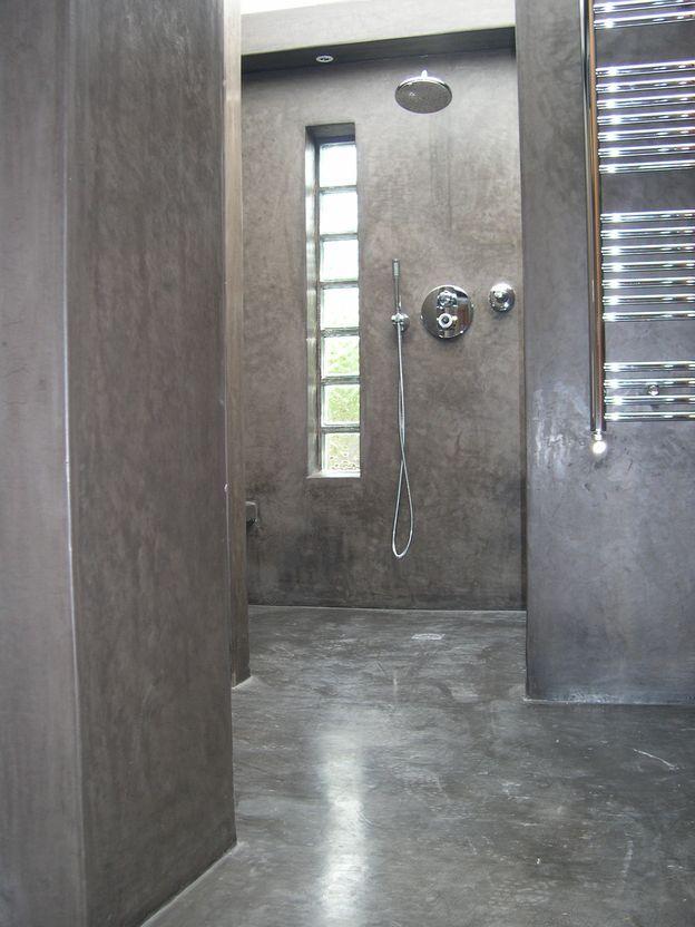 tadelakt de marrakech lahouari tahiri salle de bain douche sol en tadelakt gris anthracite. Black Bedroom Furniture Sets. Home Design Ideas