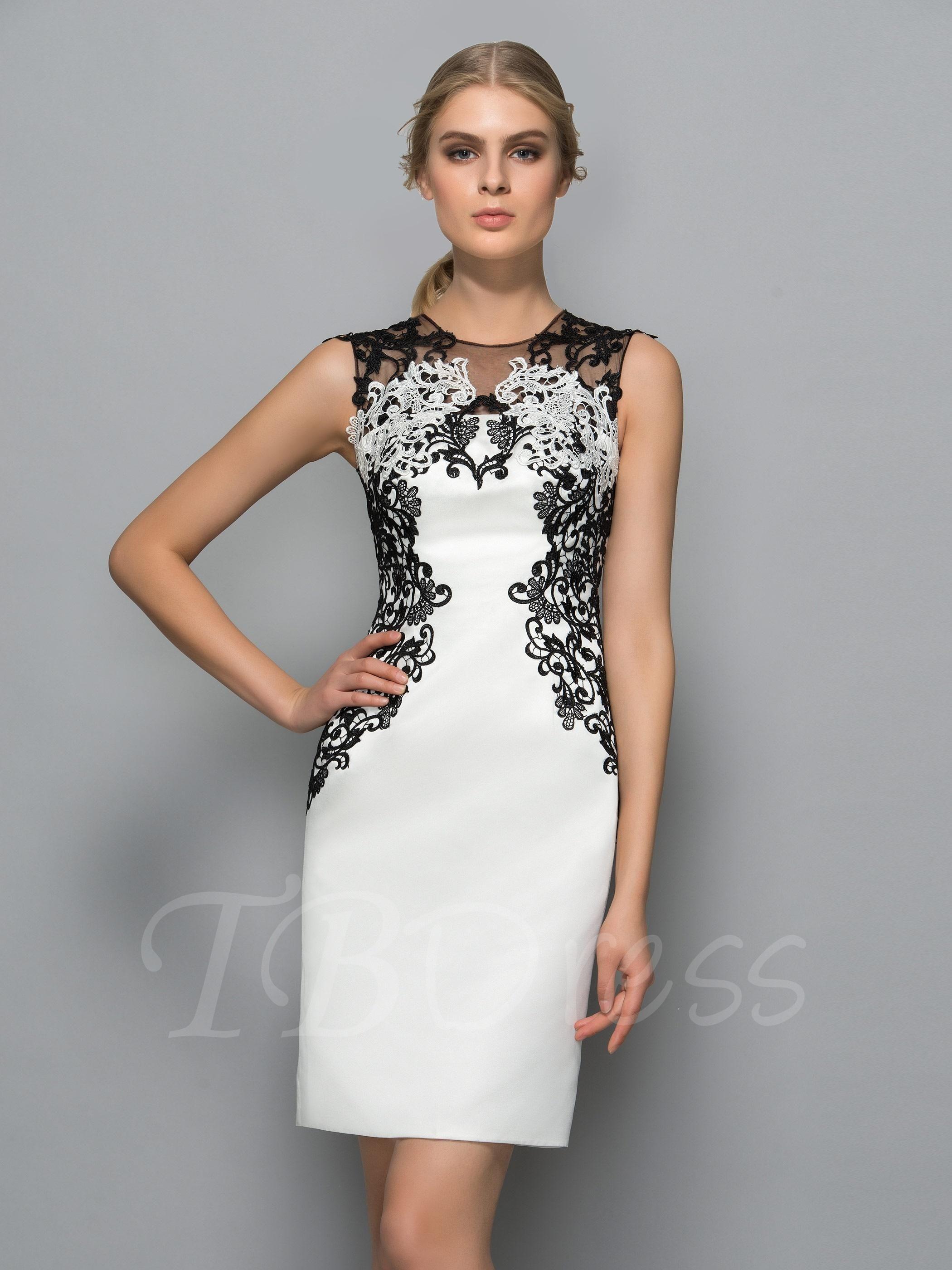 Sheath jewel neck appliques kneelength formal dress in