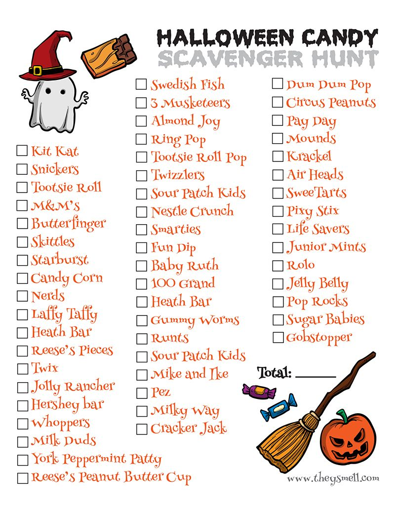 Halloween Candy Scavenger Hunt Printable Halloween candy