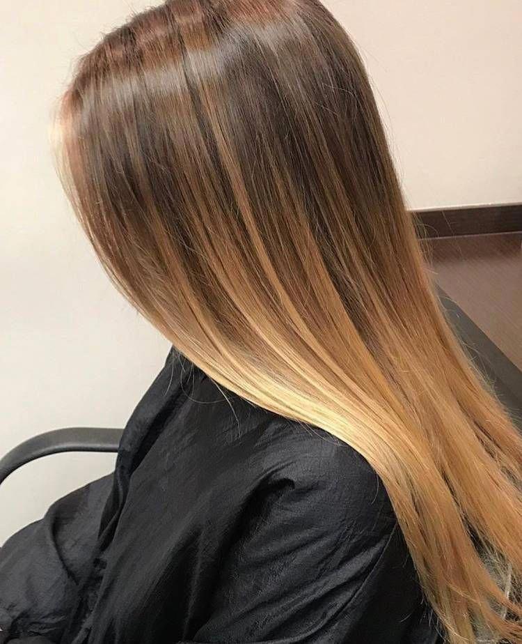 Natural Balayage On Dark Brown Hair Golden Blonde Balayage Long