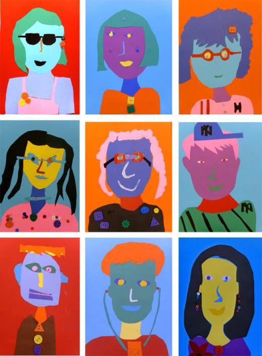 paper portrait art lesson