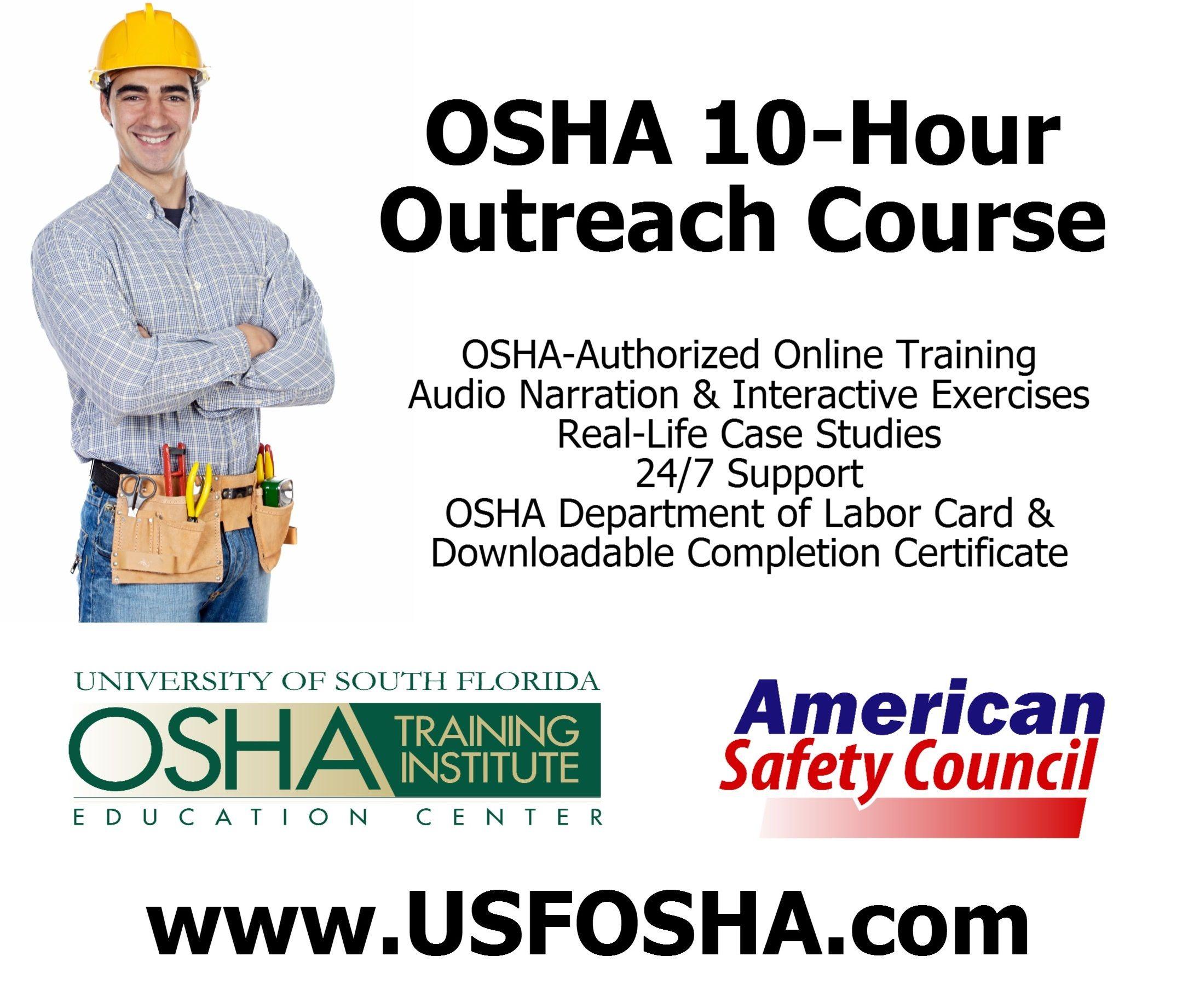 OSHA 10Hour Outreach Safety Training Courses for
