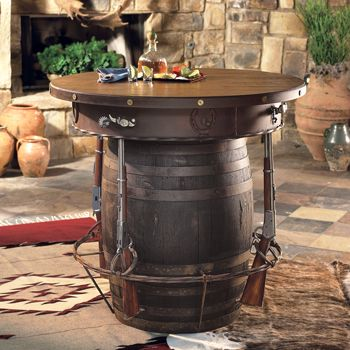 desparado pub table made from a barrel rifles and barbed wire cool furniture pinterest. Black Bedroom Furniture Sets. Home Design Ideas