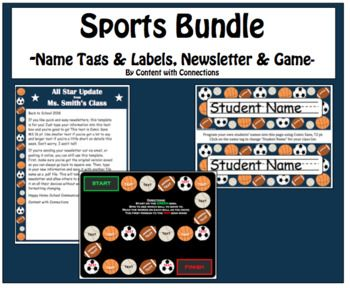 sports bundle name tags newsletter game board printables