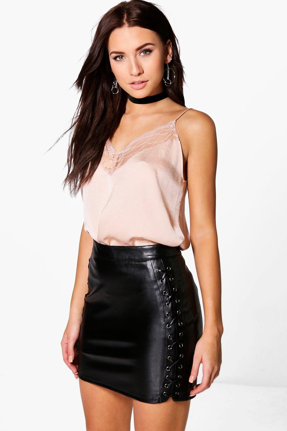 19ce7422af2b Lace Up Side Leather Look Skirt in 2019 | Fashion | Leather look ...