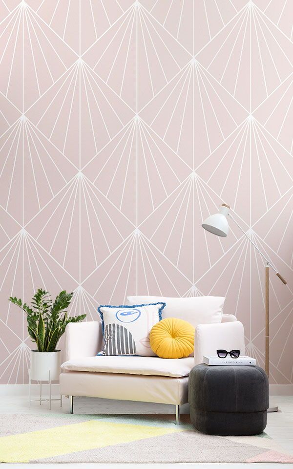 Pink Art Deco Wallpaper Mural | MuralsWallpaper