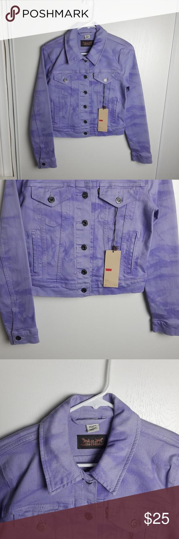 Nwt Levi S Lavender Tie Dye Denim Trucker Jacket Tie Dye Denim Denim Jackets [ 1740 x 580 Pixel ]