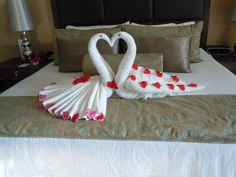 How to make Towel art | Towel Origami Swans | Towel Folding | Diwali Decoration Ideas - YouTube